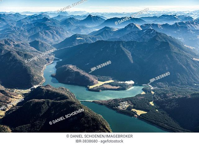 Aerial view, Sylvenstein Dam near Lenggries, Upper Bavaria, Bavaria, Germany