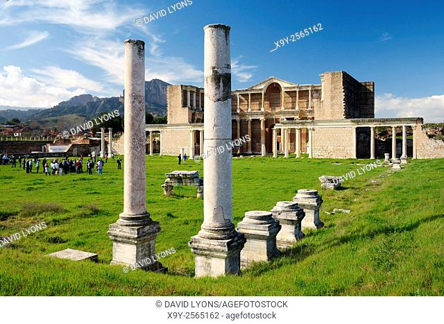 The bath gymnasium complex of the ancient Lydian Persian Greek Roman city of Sardis, Lydia, Turkey