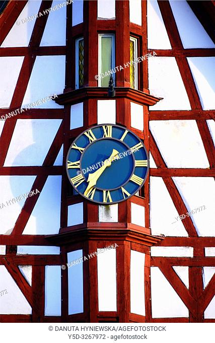 Half-timbered building of Town Hall, close-up of tower clock, Rathausplatz - Town hall square, Forchheim, Franconian Switzerland, Upper Franconia, Franconia