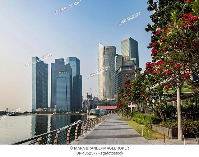Marina Bay waterfront promenade, financial district, skyscrapers, Singapore