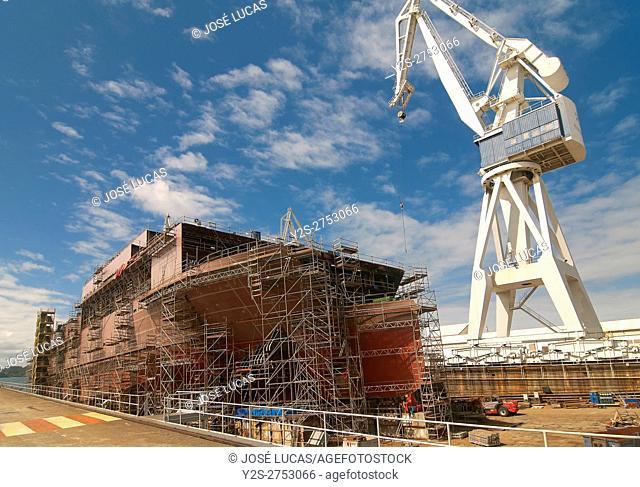Shipyard industry, Ferrol, La Coruña province, Region of Galicia, Spain, Europe