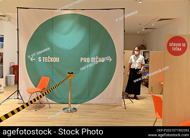 The new vaccination center against covid-19 was opened in Novy Smichov Shopping Centre, Prague, Czech Republic, on Monday, July 19, 2021