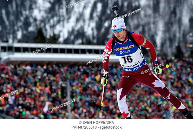 The biathlon athlete Brendan Green from Cananda participates in the men's 10 km sprint within the Biathlon Worldcup at the Chiemgau Arena in Ruhpolding, Germany