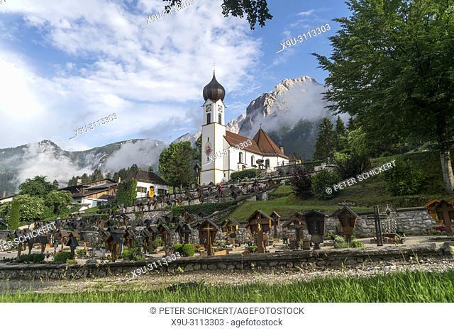 Church St. Johannes der Täufer and Grosser Waxenstein mountain, Grainau, Bavaria, Germany