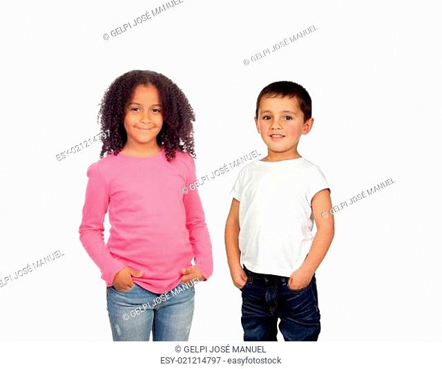 African girl and Caucasian boy