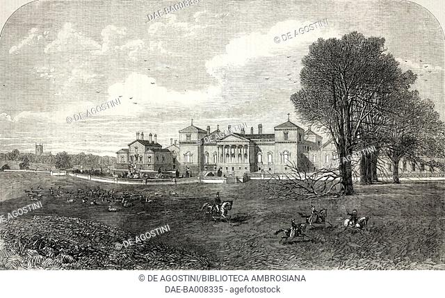 Holkham Hall, the seat of the Earl of Leicester, Norfolk, United Kingdom, illustration from the magazine The Illustrated London News, volume XLVI, January 21