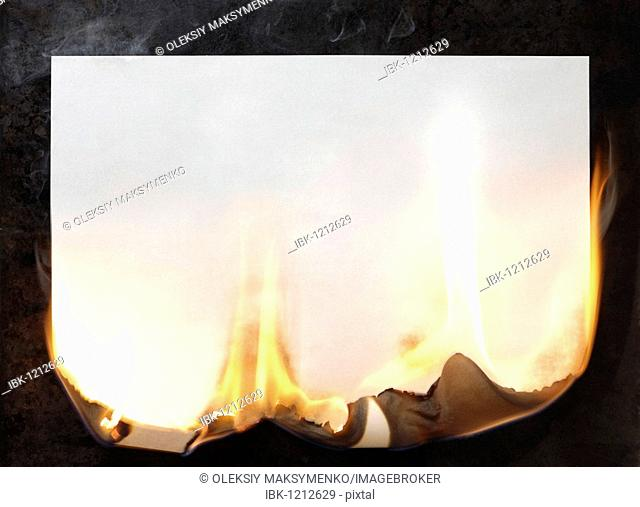 Burning sheet of blank white paper
