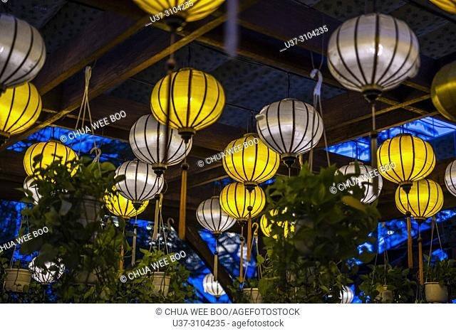 Colorful traditional lanterns hanging from ceiling, Nha Trang, Vietnam