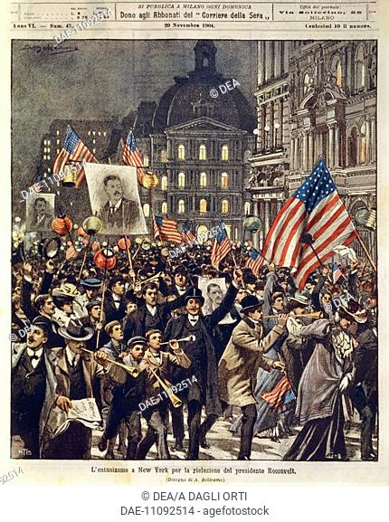 New York: People celebrating the reelection of President Theodore Roosevelt. Illustrator Achille Beltrame (1871-1945), from La Domenica del Corriere