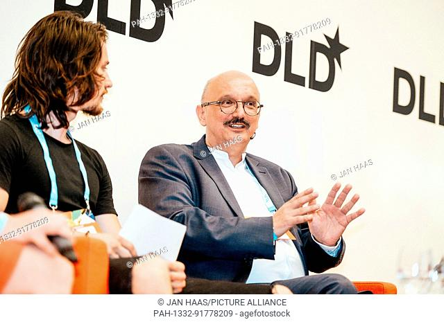BAYREUTH/GERMANY - JUNE 21: Sven Goblirsch (Moderator & Coach) talks with Alois Kastner-Maresch (LivingLogic, r.) in a panel discussion on the stage during the...