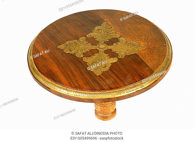 Brass design fitting on antique wooden telephone stand ; Jodhpur ; Rajasthan ; India
