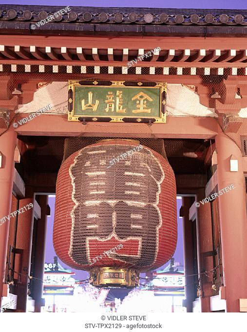 Asakusa kannon temple, Asia, Gate, Gateway, Holiday, Honshu, Japan, Kaminarimon, Landmark, Lantern, Night, Senso, Temple, Tokyo
