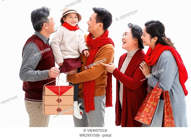 Happy families celebrate the new year