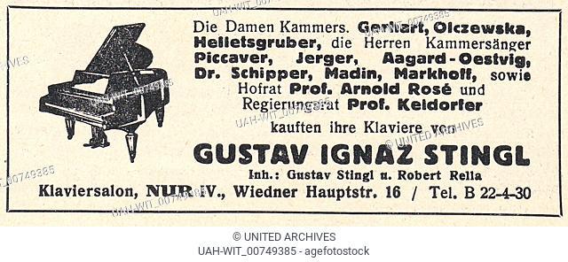 """Werbeanzeige für Klavier- und Musikalienhandlung Gustav Ignaz Stingl in Wien. Aus dem Programmheft der Staatsoper Wien zur Aufführung """"""""Lohengrin"""""""" von Richard..."""
