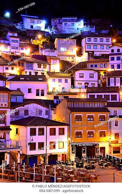 View of coloured houses of Cudillero, Asturias, Spain