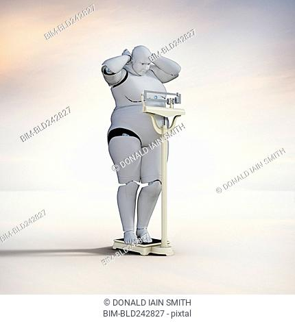 Frustrated robot woman checking weight on scale