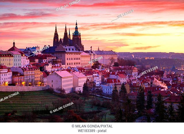 Sunrise view of Prague castle from Petrin Hill, Czech Republic
