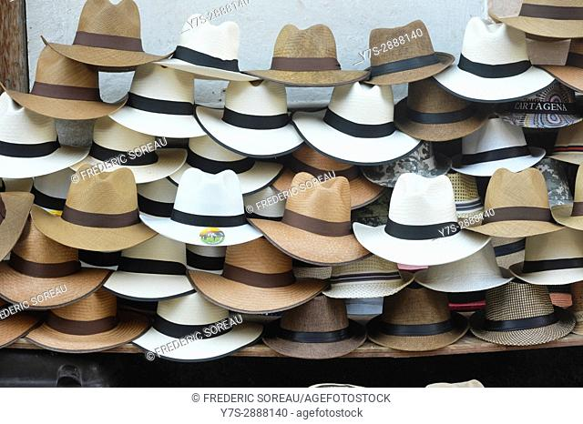 A pile of colombian sombrero's at a street vendors stand in Cartagena, Colombia, South America