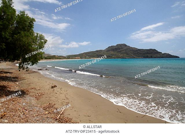 BEACH & MEDITERRANEAN SEA; PLAKIAS, CRETE, GREECE; 29/04/2014