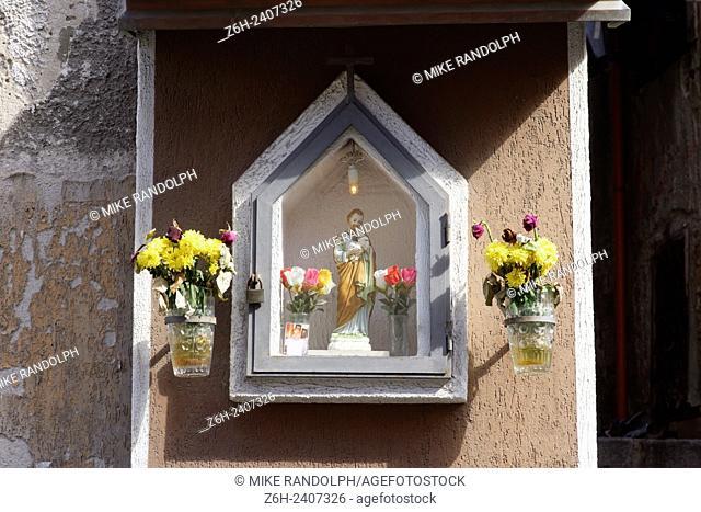 Small Catholic street shrine in Palermo, Sicily