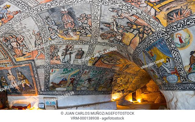 Paintings in shrine of San Bernabe in Ojo Guarena Natural Monument