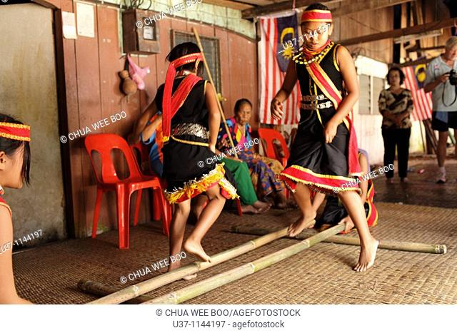 Bidayuh Girls Are Performing Bamboo Dance At Annah Rais S Long House During Gawai Stock Photo Picture And Rights Managed Image Pic U37 1144197 Agefotostock