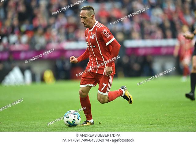 Munich's Franck Ribery in action during the German Bundesliga soccer match between Bayern Munich and FSV Mainz 05 in the Allianz Arena in Munich, Germany