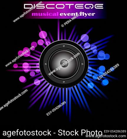 Disco club flyer with colorful elements. Ideal for poster and music background