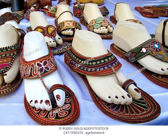Indian sandals on Sunday street market, Midtown Manhattan, New York City, USA