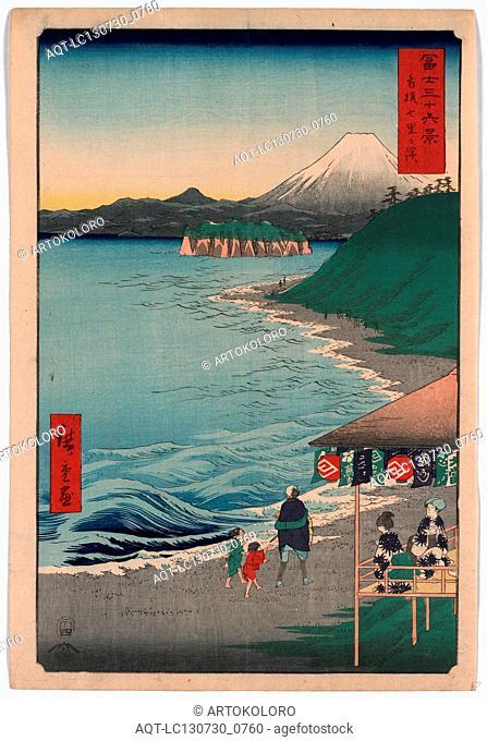 Sagami shichirigahama, Shichirigahama in Sagami Province., Ando, Hiroshige, 1797-1858, artist, 1858., 1 print : woodcut, color ; 35.9 x 24.6 cm