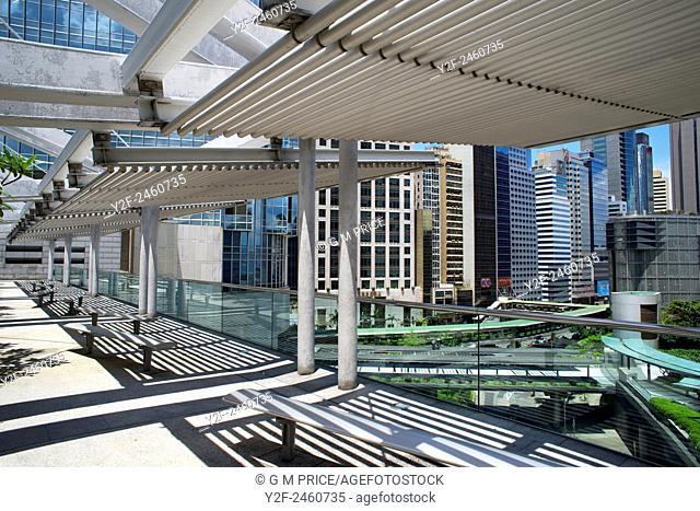 Hong Kong office buildings seen from roof of International Finance Centre mall