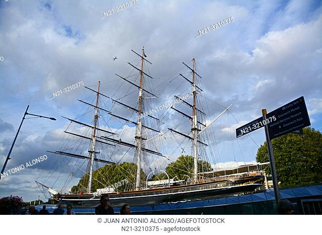 British Clipper ship Cutty Sark at dry dock at Greenwich. London, England, Great Britain, Europe
