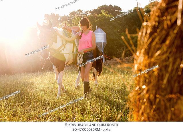 Woman walking horse in meadow