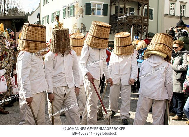 Aussee Carnival, men in white suits, even Pless, woven baskets on heads, Bad Aussee, Styria, Austria