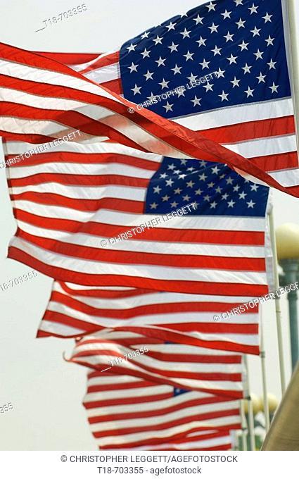 American flag blowing
