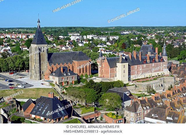 France, Loiret, Gien, Sainte Jeanne d'Arc (Joan of Arc) church, the castle (aerial view)