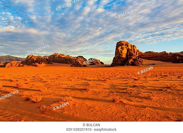A sunrise in the desert at Wadi Rum National Park, Jordan