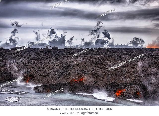 Aerial view of lava and steam. August 29, 2014 a fissure eruption started in Holuhraun at the northern end of a magma intrusion