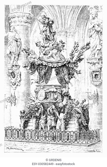 Chair of Saint Gudula in Brussels, Belgium, drawing by Goutzwiller based on a photograph by Levy, vintage illustration. Le Tour du Monde, Travel Journal, 1881