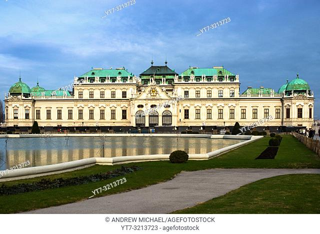 Upper Belvedere Palace panorama, a baroque palace complex built by Prince Eugene of Savoy in the 3rd district of Vienna. Austria