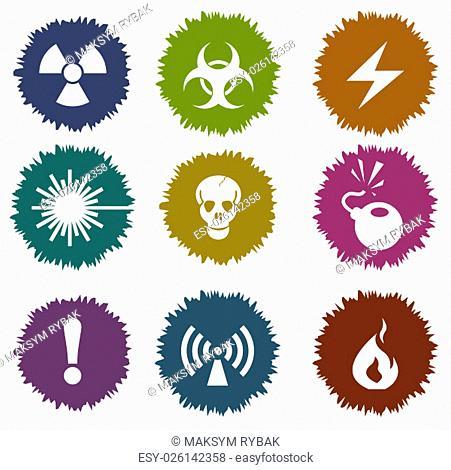 Hazard sign vector icon symbols for web