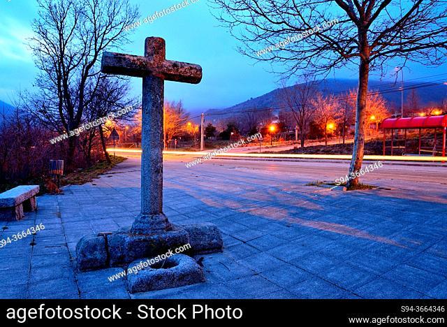 Via Crucis. Crosses in Bustarviejo at nightfall, Bustarviejo, Madrid, Spain