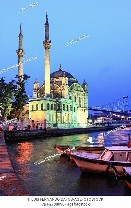 Ortakoy Mosque and Bosphorus Bridge illuminated , Istanbul , Turkey