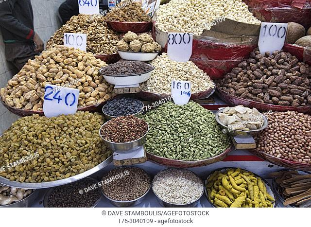 Nuts and dried fruit for sale in the Khari Baoli Spice Market, Old Delhi, India