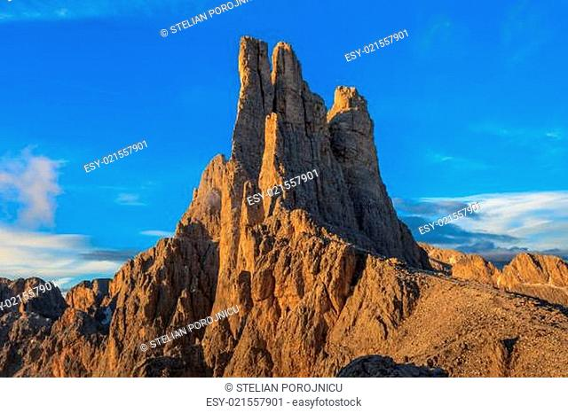 Vajolet towers in Dolomites, Val di Fassa, Italy