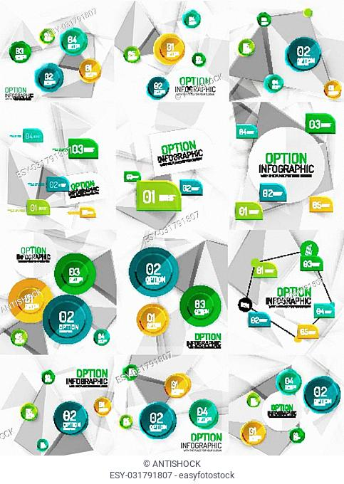 Set of vector business abstract infographics on 3d triangular backgrounds