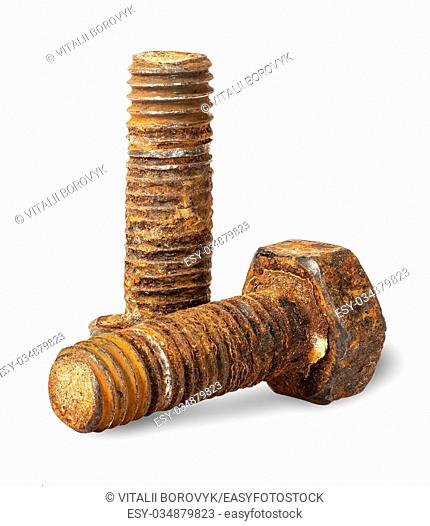 Two old rusty bolts of each other isolated on white background