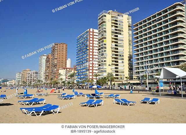 Skyscrapers, beach Playa Levante in Benidorm, Costa Blanca, Spain, Europe