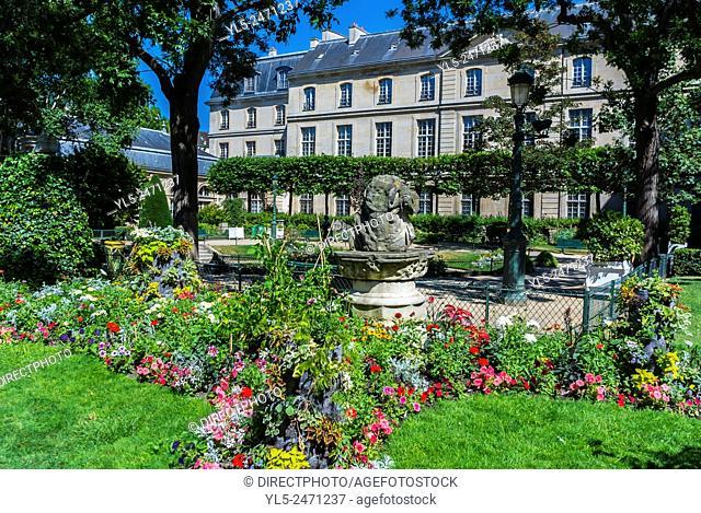 Paris, France, Public Park in the Marais District. Square Georges-Cain