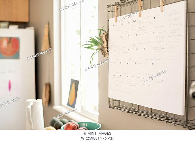 Wall planner on a kitchen wall